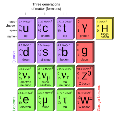 The 12 fundamental fermions, 4 fundamental bosons, and the Higgs.